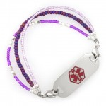 purple peacock medical id bracelet with tag