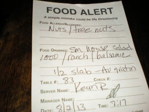Food Alert Sheet Wildfire Restaurant
