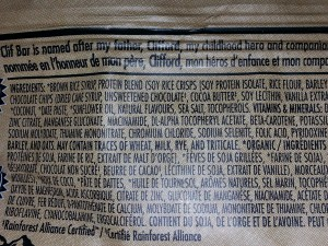 clif bar allergen statement and ingredients list